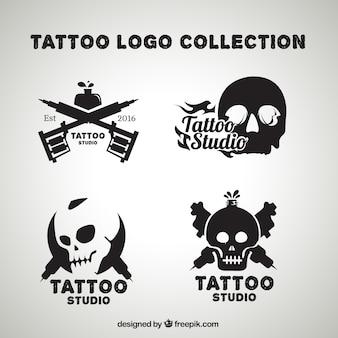 Pacote de tatuagens logos crânio