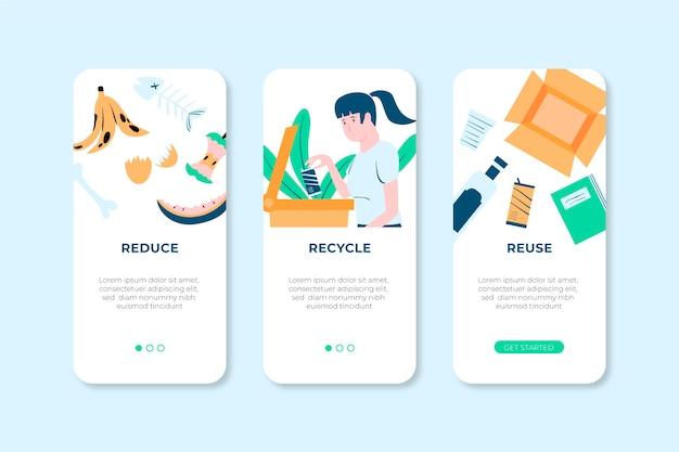 Pacote de telas de aplicativos para reciclagem