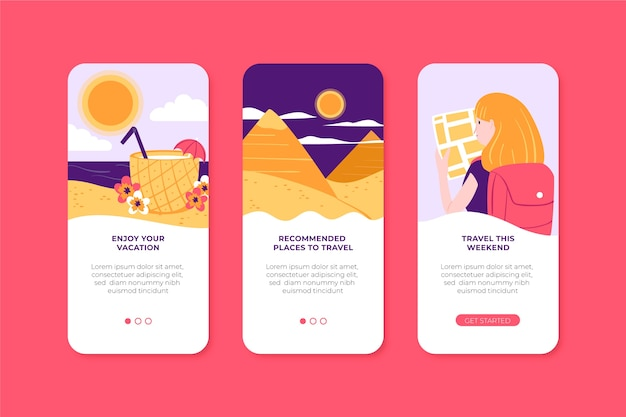 Pacote de telas de aplicativos para viagens
