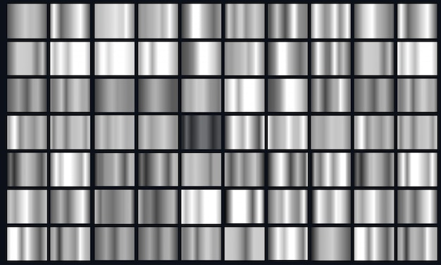 Pacote de textura gradiente prata realista. conjunto de gradiente de folha de metal brilhante