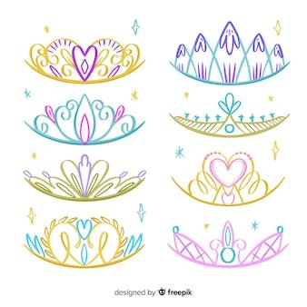 Pacote de tiara de princesa desenhada de mão