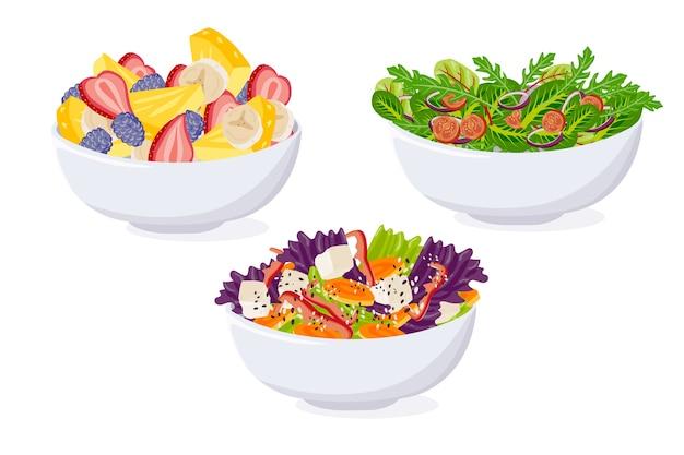 Pacote de tigela de frutas e saladas