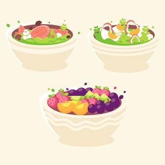 Pacote de tigelas de frutas e saladas