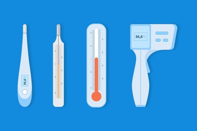 Pacote de tipo de termômetro de design plano