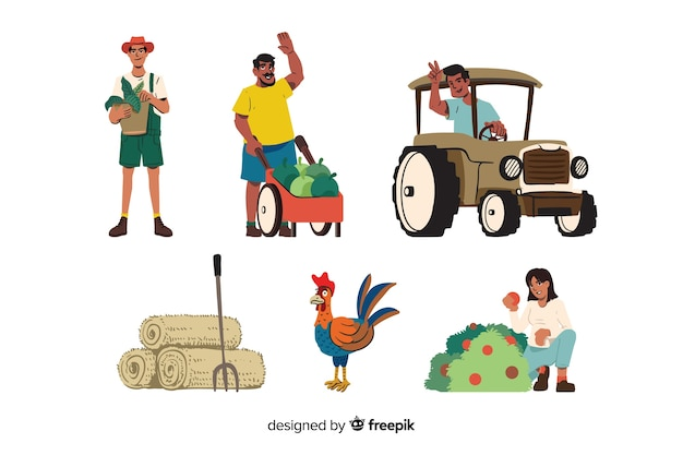 Pacote de trabalhadores agrícolas ilustrado