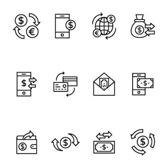 Pacote de transferência de fundos no design de linhas