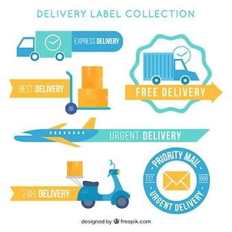 Pacote de transporte vintage e adesivos de entrega