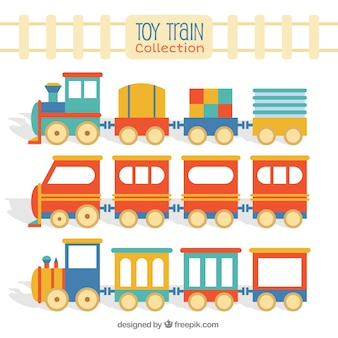 Pacote de trem de brinquedo plano