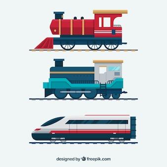 Pacote de trens de diferentes épocas