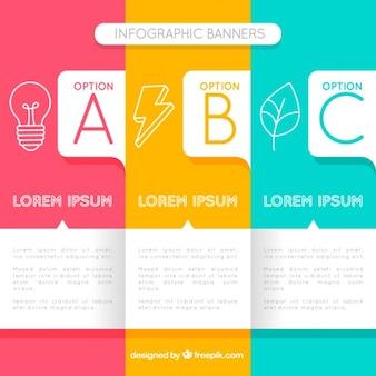 Pacote de três bandeiras coloridas infográfico