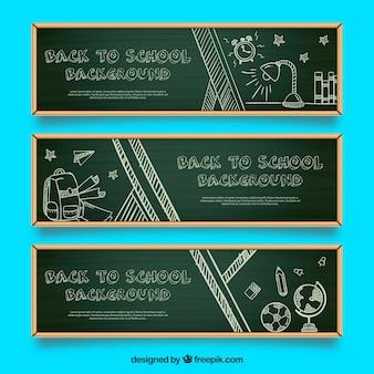 Pacote de três bandeiras de quadro-negro com desenhos escolares