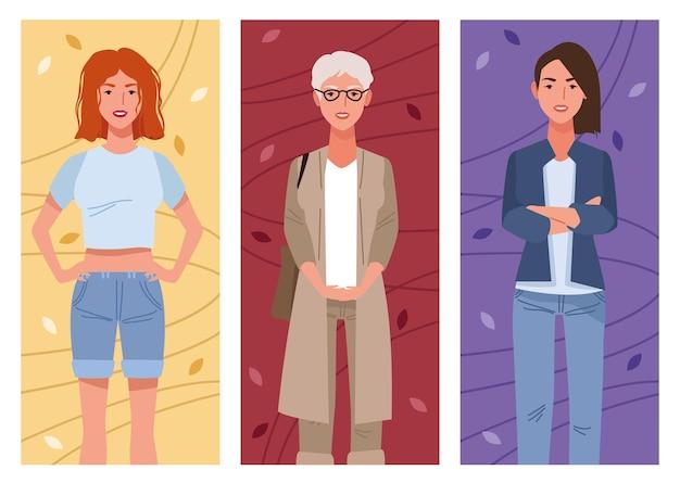 Pacote de três belas mulheres avatares personagens ilustração