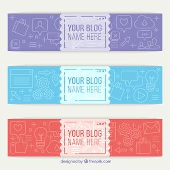 Pacote de três cabeçalhos blog com desenhos