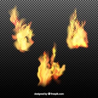 Pacote de três chamas realísticas
