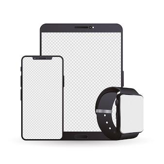 Pacote de três dispositivos eletrônicos de maquete