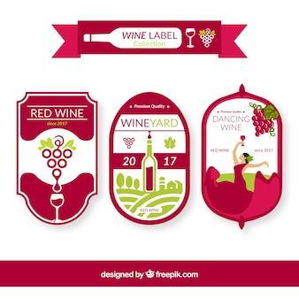 Pacote de três etiquetas do vinho com detalhes verdes