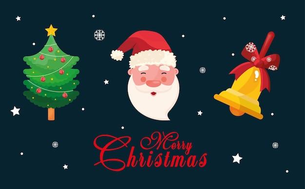Pacote de três ícones e letras do feliz natal feliz