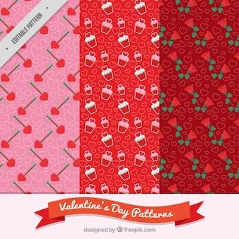 Pacote de três padrões decorativos para dia dos namorados Vetor grátis