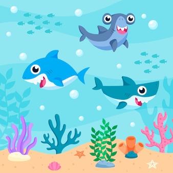 Pacote de tubarões bebê no oceano