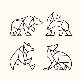 Pacote de urso poligonal