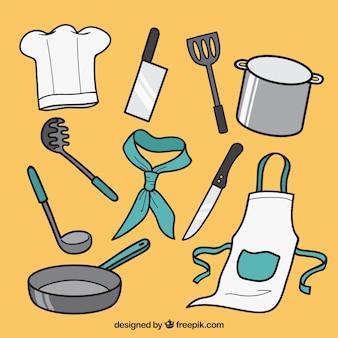 Pacote de utensílios de cozinha com detalhes de cor