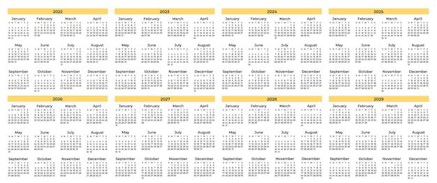 Pacote de vários calendários mínimos
