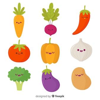 Pacote de vegetais kawaii mão desenhada