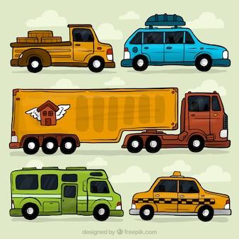 Pacote de veículo desenhada à mão