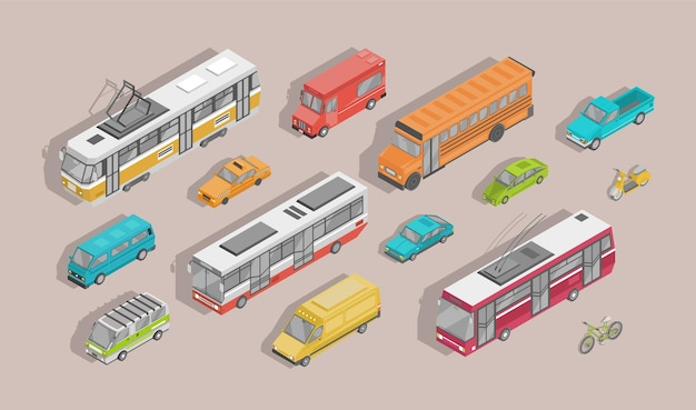 Pacote de veículos motorizados isométricos isolados na luz de fundo - carro, scooter, ônibus, bonde, trólebus, minivan, bicicleta, caminhonete, reboque. conjunto de transporte da cidade. ilustração vetorial.