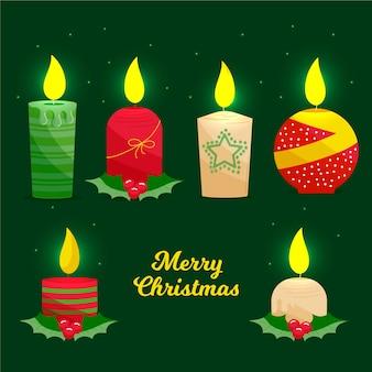 Pacote de vela de natal desenhada de mão
