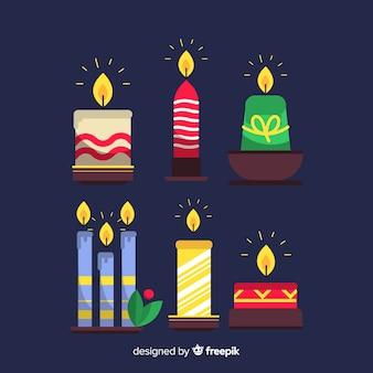 Pacote de velas coloridas de natal