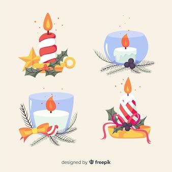 Pacote de velas de natal com castiçal