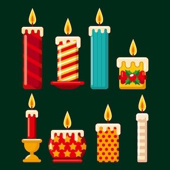 Pacote de velas de natal desenhadas à mão