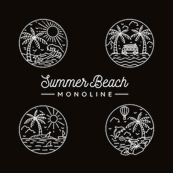 Pacote de verão praia monoline