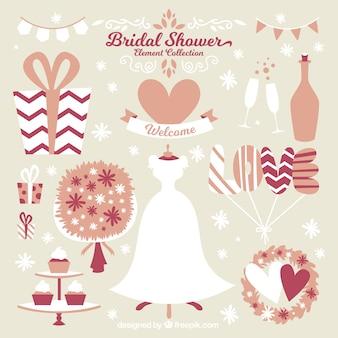 Pacote de vestido de noiva e elementos decorativos da festa de solteira