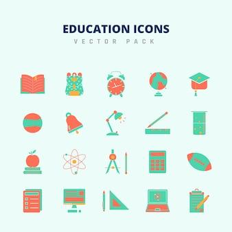 Pacote de vetores de ícones de educação