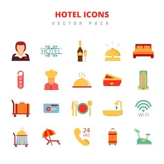 Pacote de vetores de ícones do hotel