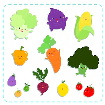 Pacote de vetores de legumes bonitos