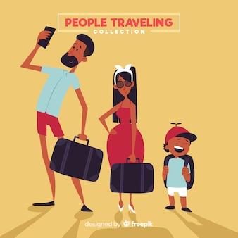 Pacote de viagem de família desenhada de mão
