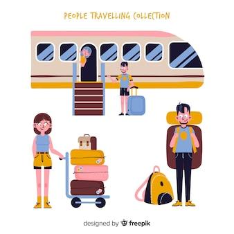 Pacote de viagem de pessoas desenhadas a mão