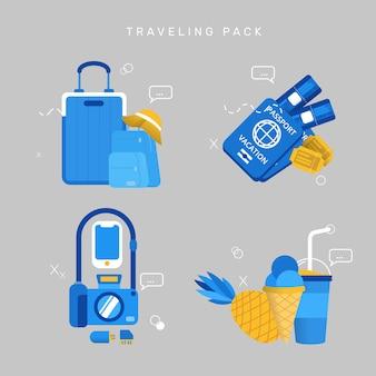 Pacote de viagem vector pack plana