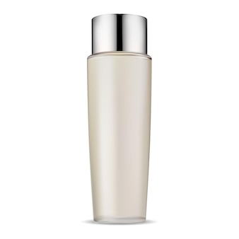 Pacote de vidro de frasco cosmético simulado, tampa de prata jarwith de condicionador de cabelo, design de ilustração vetorial realista. gel para cuidados com a pele do rosto ou molde de aerossol hidratante. frasco de shampoo