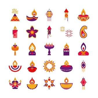 Pacote de vinte e cinco diwali definido design de ilustração vetorial de estilo simples