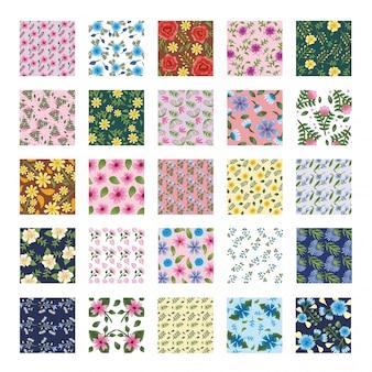Pacote de vinte e cinco fundos de padrões de flores