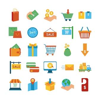 Pacote de vinte e cinco ícones de conjunto de compras ilustração vetorial design