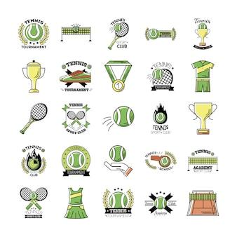 Pacote de vinte e cinco ícones de conjuntos de tênis esportivos Vetor Premium
