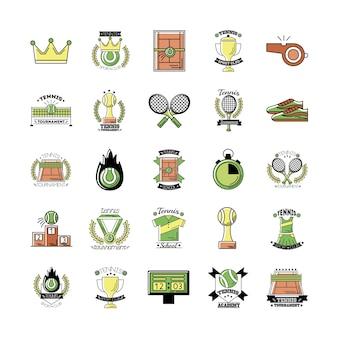 Pacote de vinte e cinco ícones de conjuntos de tênis esportivos