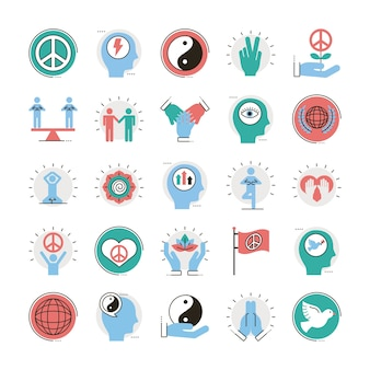 Pacote de vinte e cinco ícones de estilo de preenchimento e linha de conjunto de paz ilustração vetorial design Vetor Premium