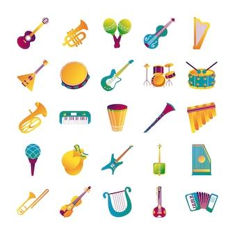 Pacote de vinte e cinco instrumentos musicais conjunto coleção ícones ilustração vetorial design