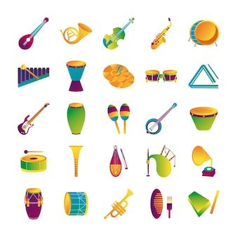Pacote de vinte e cinco instrumentos musicais conjunto de ícones ilustração vetorial design